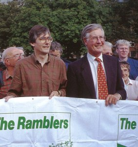 Gordon Prentice and Michael Meacher at the Ramblers' rally in Todmorden, September 1998